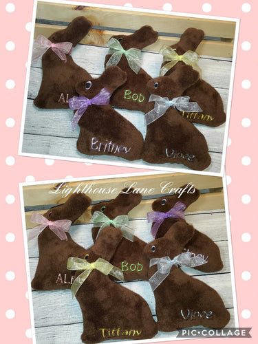 Handmade Personalized Plush Chocolate Bunny