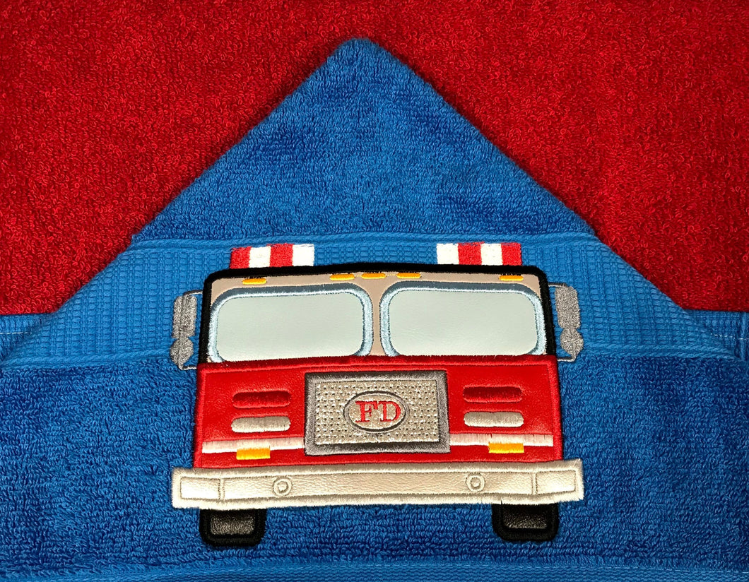 Fire Truck Hooded Towel