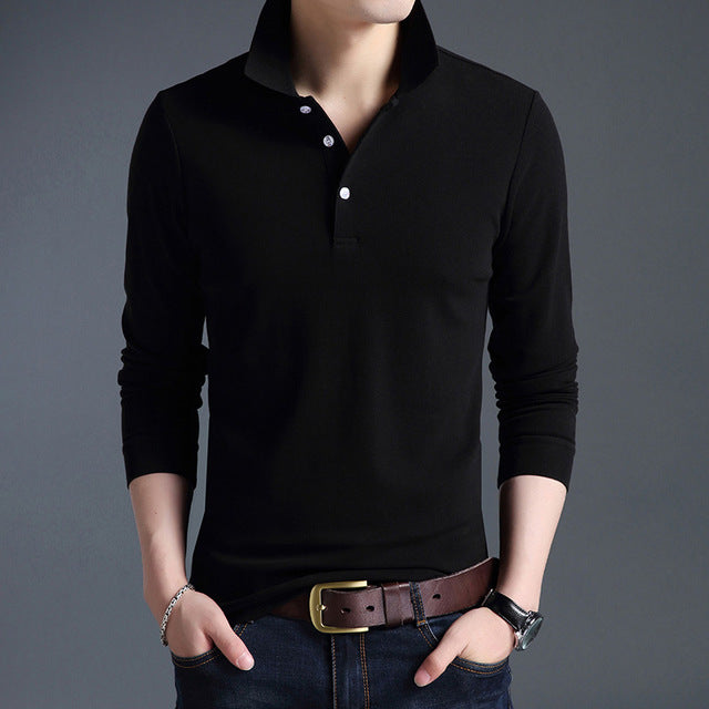 93d7e9c7a865 Mens New Fashion Polo Shirt Solid Color Slim Fit Polo Men Long Sleeve  Mercerized Cotton Casual