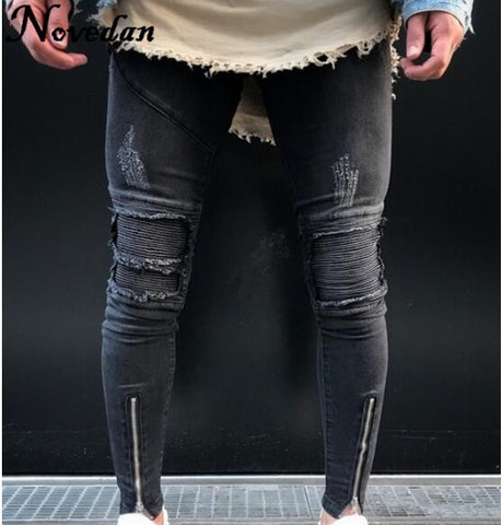 bf97367fb826 Mens Stretch Destroyed Ripped Biker Pants Fashion Black Ankle Zipper Skinny  Jeans