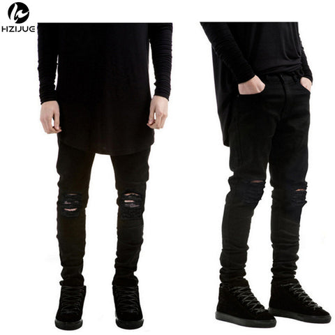3cb0d0b4f026 Mens New Black Ripped Holes Super Skinny Slim Fit Destroyed Torn Jeans