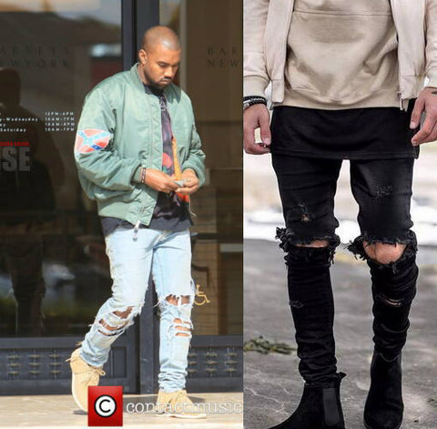 4ea2e863 Mens Kanye West Style Skinny Ripped Black Motorcycle Camouflage Jeans