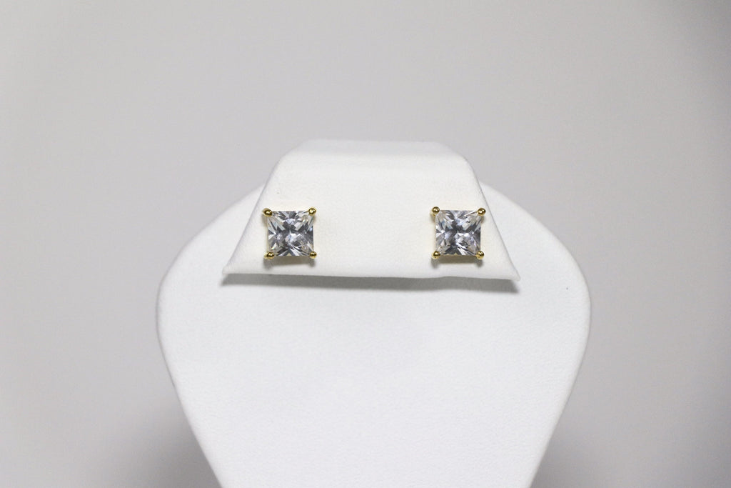 8mm Square Gold Cubic Zirconia Earrings
