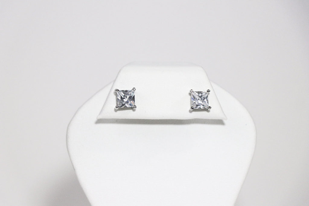 7mm Square Cubic Zirconia Earrings