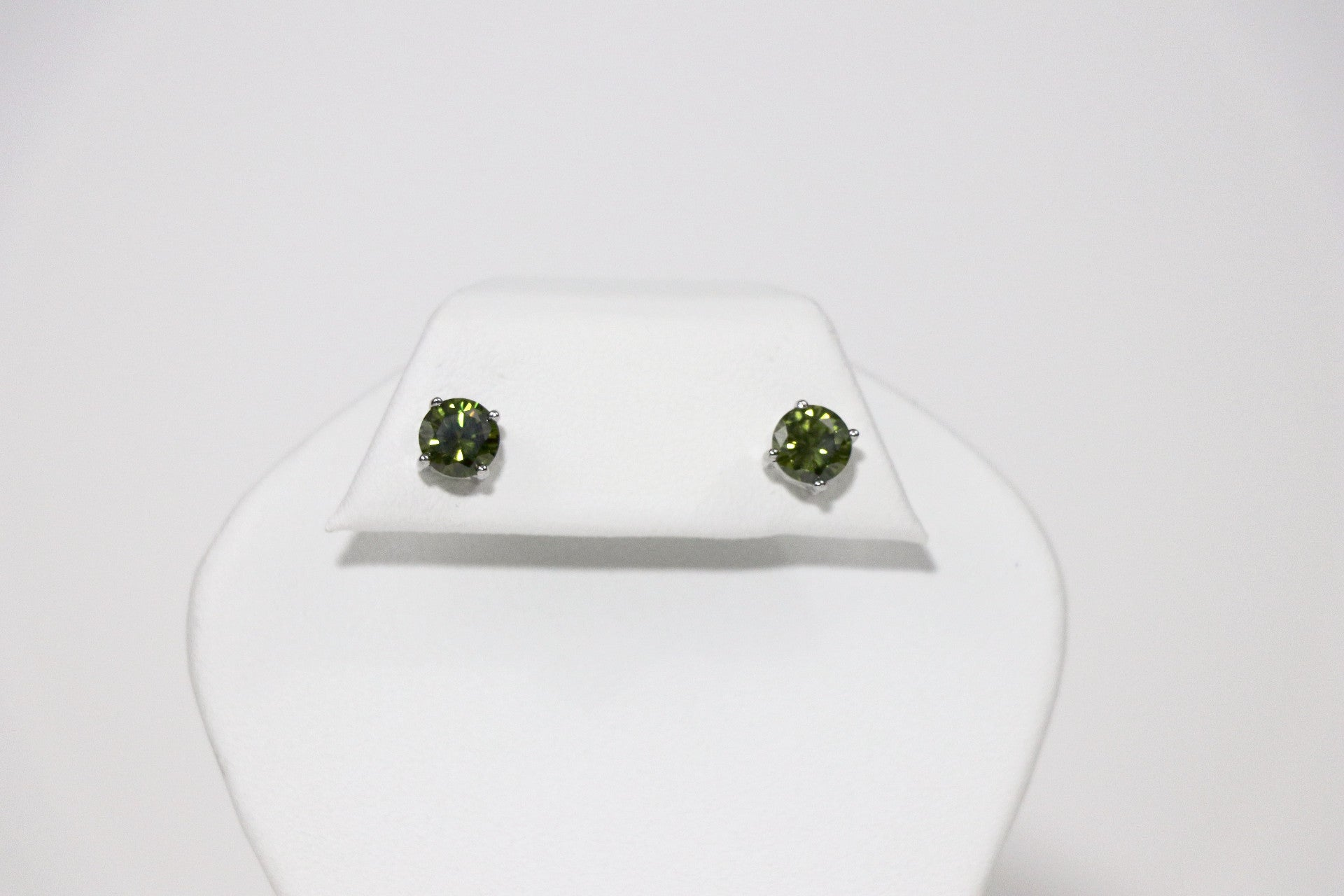 7mm Round Peridot Rhodium Cubic Zirconia Earrings