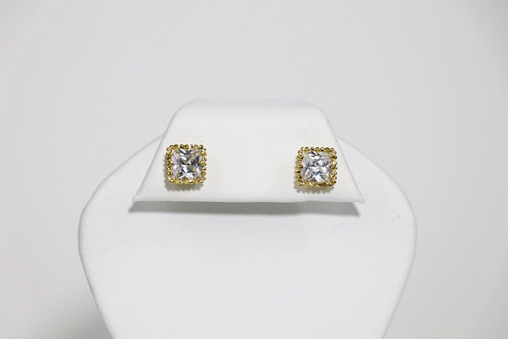 7mm Square Crown Gold Cubic Zirconia Earrings
