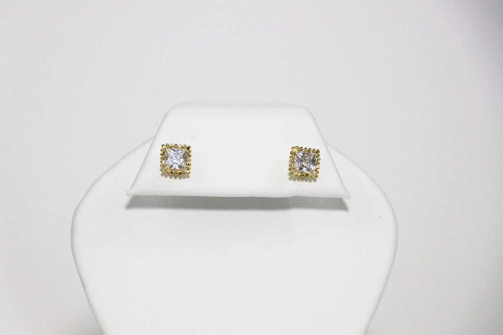 5mm Square Crown Cubic Zirconia Earrings