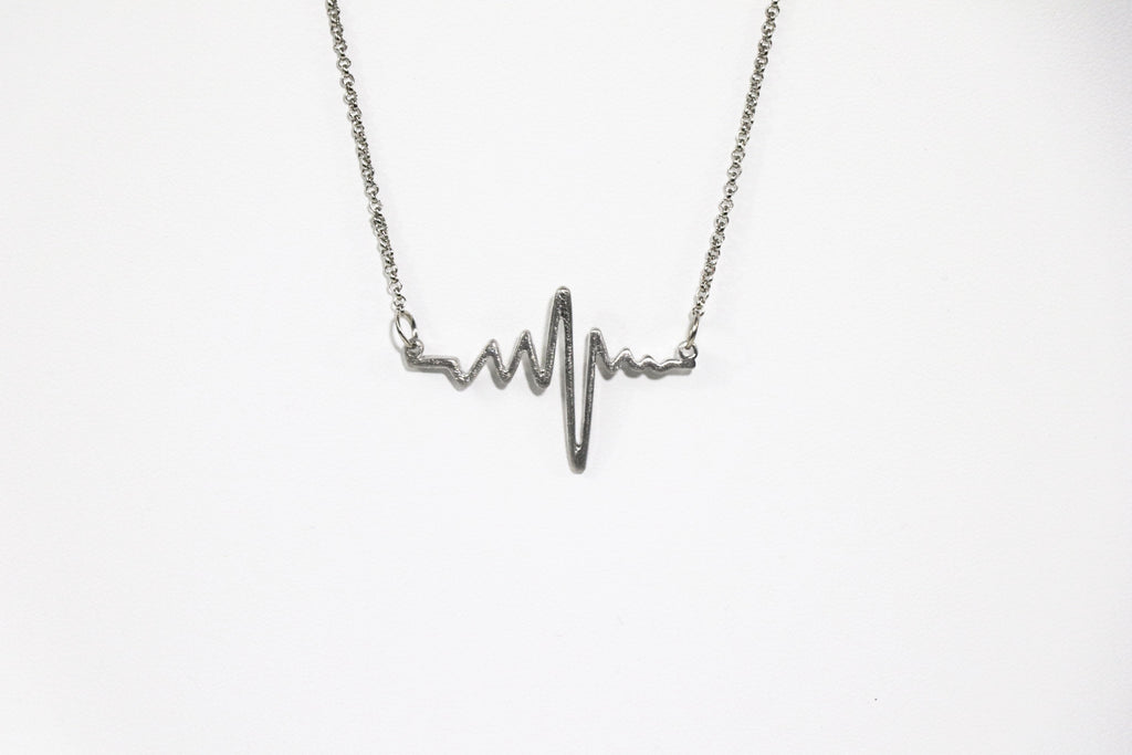 Heartbeat Brushed Metal Necklace