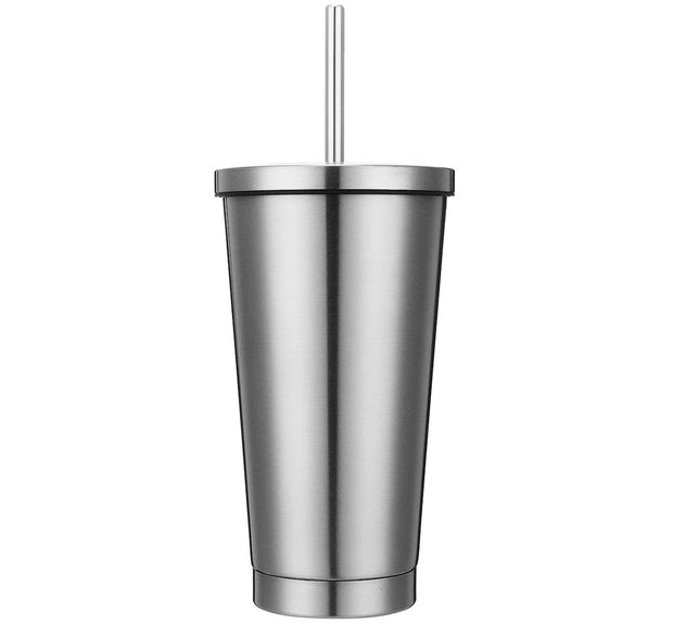 Stainless Steel Tumbler with Lid & Straw