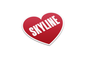 Old School Skyline Heart Sticker