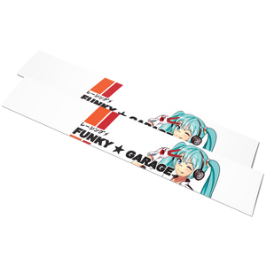 Retro Racing Miku Banner「White」