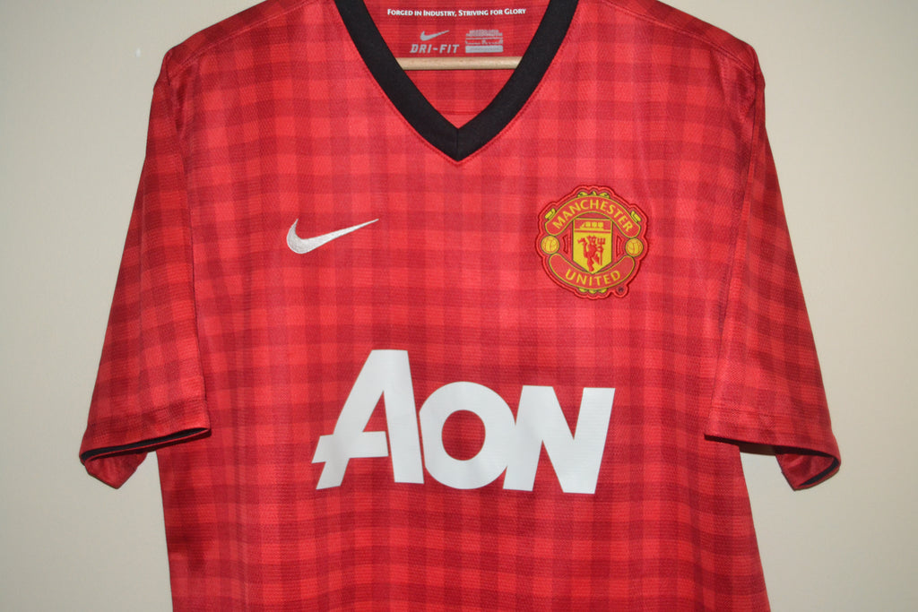 16e2a4d1f MANCHESTER UNITED 2012-2013 NIKE AON RED HOME SHIRT LARGE MENS – My ...