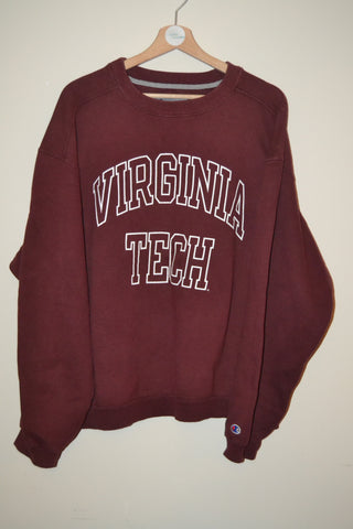 RETRO CHAMPION BURGUNDY VIRGINIA TECH URBAN WAVEY SWEATSHIRT UK XL MENS 828bf9486