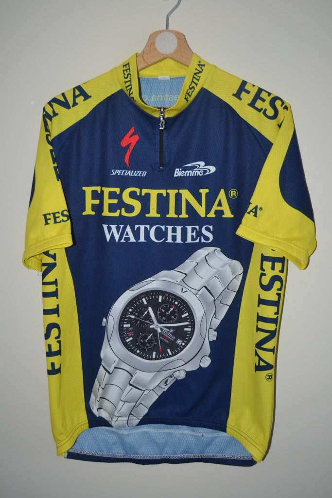 da483387f RETRO FESTINA WATCHES BIEMME SPECIALIZED BLUE   YELLOW CYCLING JERSEY – My- retro-treasures