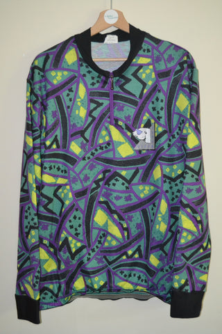 RETRO MULTI COLOURED RIFF   RAFF LONG SLEEVE CYCLING JERSEY UK MENS XL 91b848467