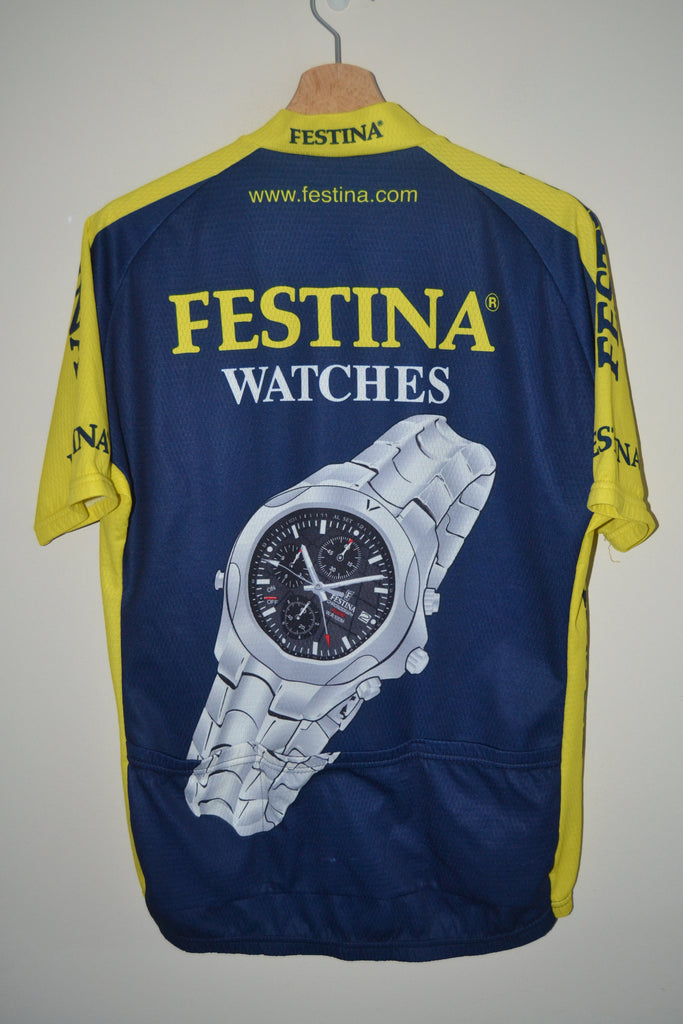 4641976e6 ... RETRO FESTINA WATCHES BIEMME SPECIALIZED BLUE   YELLOW CYCLING JERSEY  MENS SIZE 6