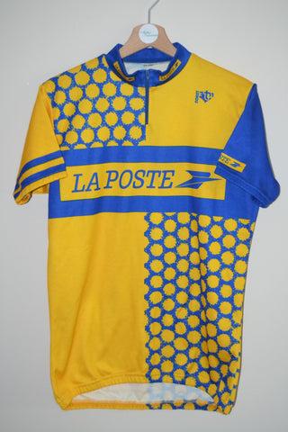 9a5a2a079 RETRO LA POSTE YELLOW   BLUE CYCLING JERSEY SIZE 4 UK MENS LARGE