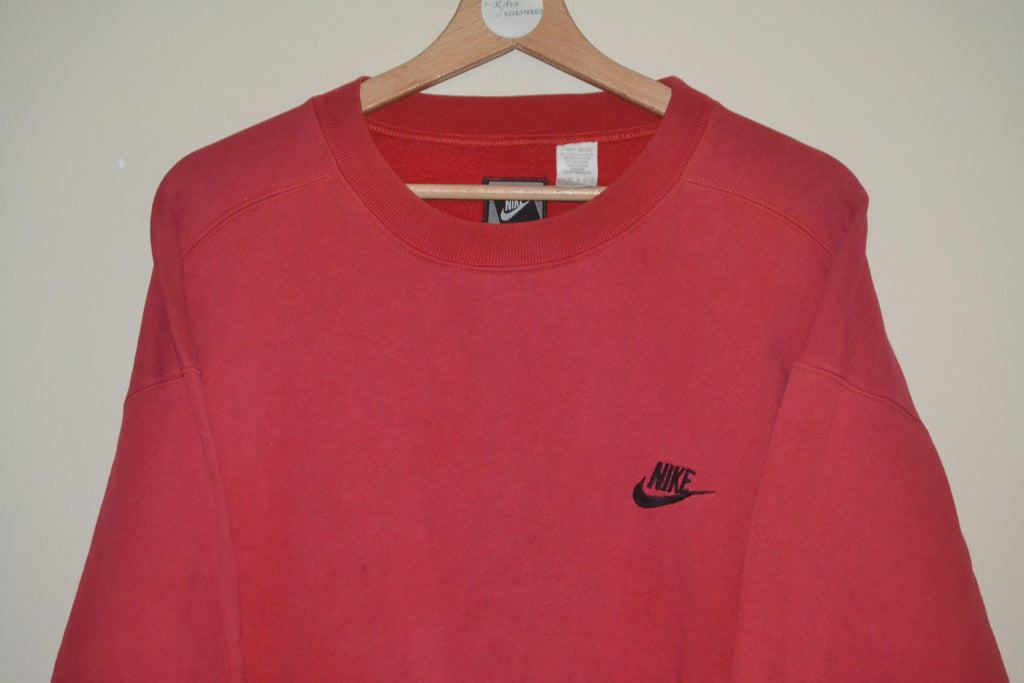 Red Spellout amp; Uk Swoosh Sweatshirt Medium Retro Wavey Nike Urban wqS1SR