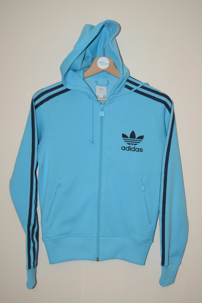 d15722d14988 RETRO WOMENS 2005 ADIDAS LIGHT BLUE URBAN WAVEY TRACKSUIT HOODIE JACKE –  My-retro-treasures