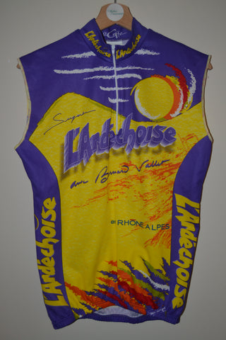 RETRO L ARDECHOISE MULTI COLOURED SLEEVELESS CYCLING JERSEY TOP MENS SMALL d00bfb73f