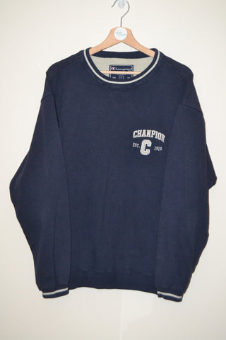 RETRO CHAMPION EST 1919 NAVY BLUE SPELLOUT URBAN WAVEY SWEATSHIRT UK LARGE  MENS 943f52141