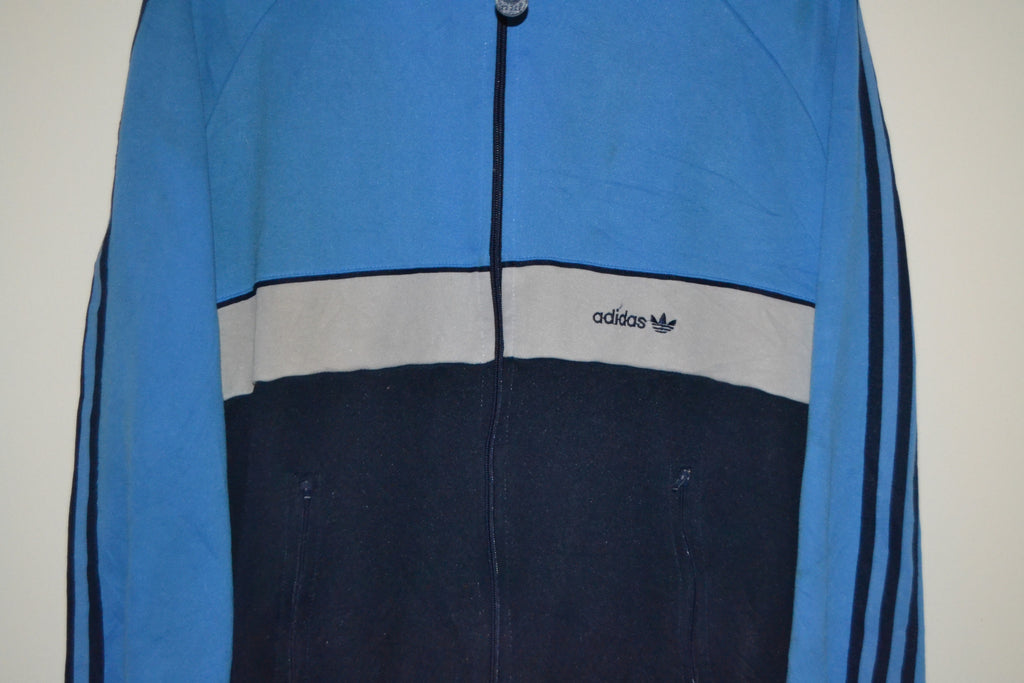 aae4febbe5446 VINTAGE ADIDAS BLUE & WHITE TRACK JACKET UK MENS SMALL-MEDIUM - MADE IN  TAIWAN SIZE 52