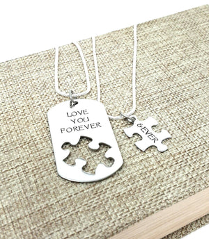 I Love You More Necklace Set, Puzzle Piece, Dog Tag Necklace, Boyfriend Gift, Forever and Ever, Necklaces, HandmadeLoveStories, HandmadeLoveStories , [Handmade_Love_Stories], [Hand_Stamped_Jewelry], [Etsy_Stamped_Jewelry], [Etsy_Jewelry]
