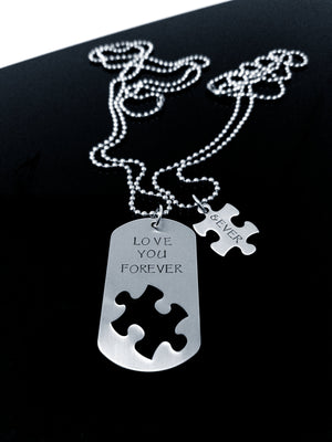 I Love You Forever & Ever Necklace Set, Puzzle Piece, Dog Tag Necklace, Boyfriend Gift, Forever, Necklaces, HandmadeLoveStories, HandmadeLoveStories , [Handmade_Love_Stories], [Hand_Stamped_Jewelry], [Etsy_Stamped_Jewelry], [Etsy_Jewelry]
