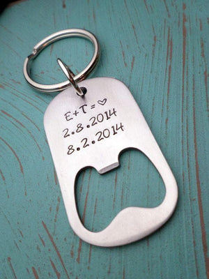 Couples Bottle Opener Keychain, Anniversary Day Gift, Gift for Husband, Boyfriend Gift, Gift for Fiance, Custom man Gift, Valentines, Bottle Openers, HandmadeLoveStories, HandmadeLoveStories , [Handmade_Love_Stories], [Hand_Stamped_Jewelry], [Etsy_Stamped_Jewelry], [Etsy_Jewelry]