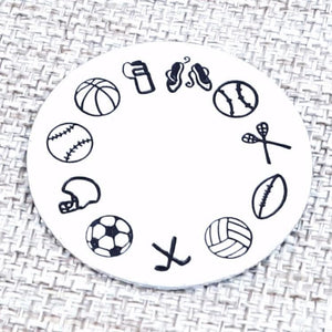 Add On Sports Tag - Football Charm,  Baseball Charm, Softball Charm, Hockey Charm, Lacrosse Charm, Add on's, HandmadeLoveStories, HandmadeLoveStories , [Handmade_Love_Stories], [Hand_Stamped_Jewelry], [Etsy_Stamped_Jewelry], [Etsy_Jewelry]