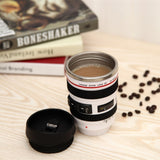 2 Colors Durable DIY Stainless Steel Vacuum Flasks Travel Coffee Mug Cup Water Coffee Tea Camera Lens Cup With Lid Dropshipping