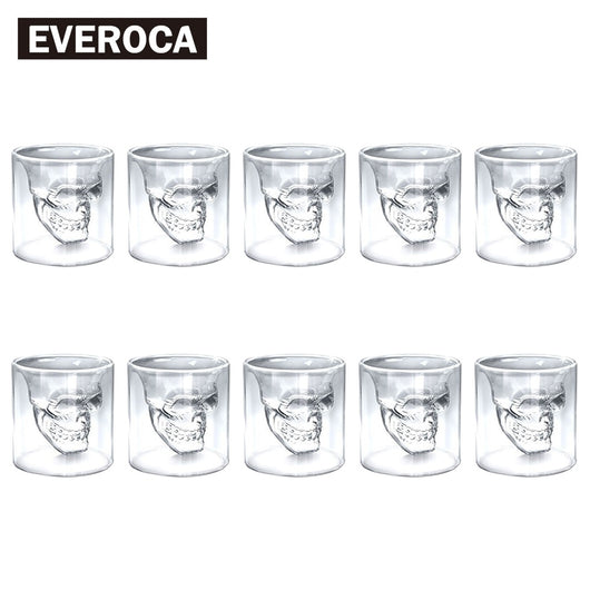 4pcs 8pcs 12pcs Skull Head Shot Glass Cup Beer Mug Wine Glass Mug Crystal Whisky Vodka Coffee Cup 25ml~150ml Gift Bottle