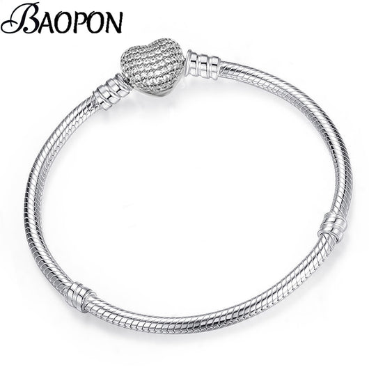BAOPON High Quality Authentic Silver Color Snake Chain Pandora Bracelet Fit European Charm Bracelet for Women DIY Jewelry Making