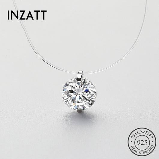 INZATT Hot 925 Sterling Silver Zircon Pearl Pendant Necklace Transparent Fishing Line Charms Fashion Jewelry For Mother's Day