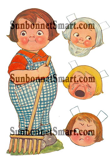 vintage boy farmer paper doll - homestead paper doll