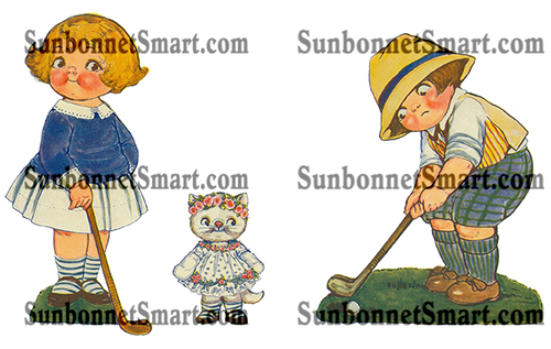 Dolly Dingle, Tommy, Golf and Cutie Kitty Printable Paper Dolls