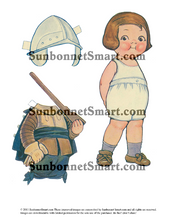 Dolly Dingle as Pilgrim with Two Suitors Printable Paper Dolls