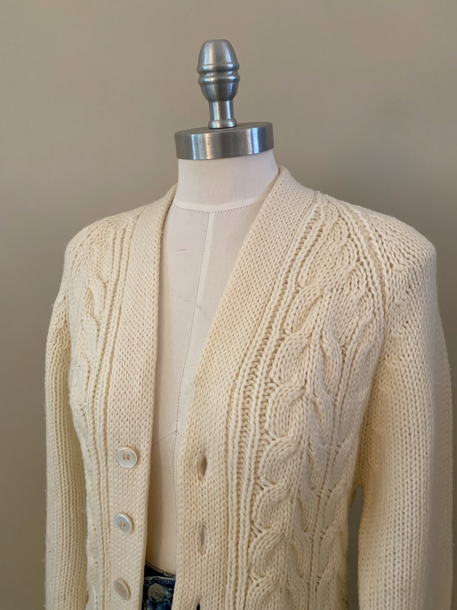 cable knit letterman sweater