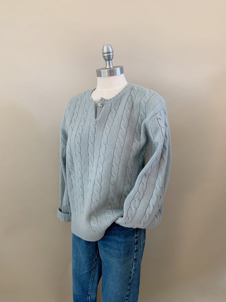 baby blue cable knit sweater