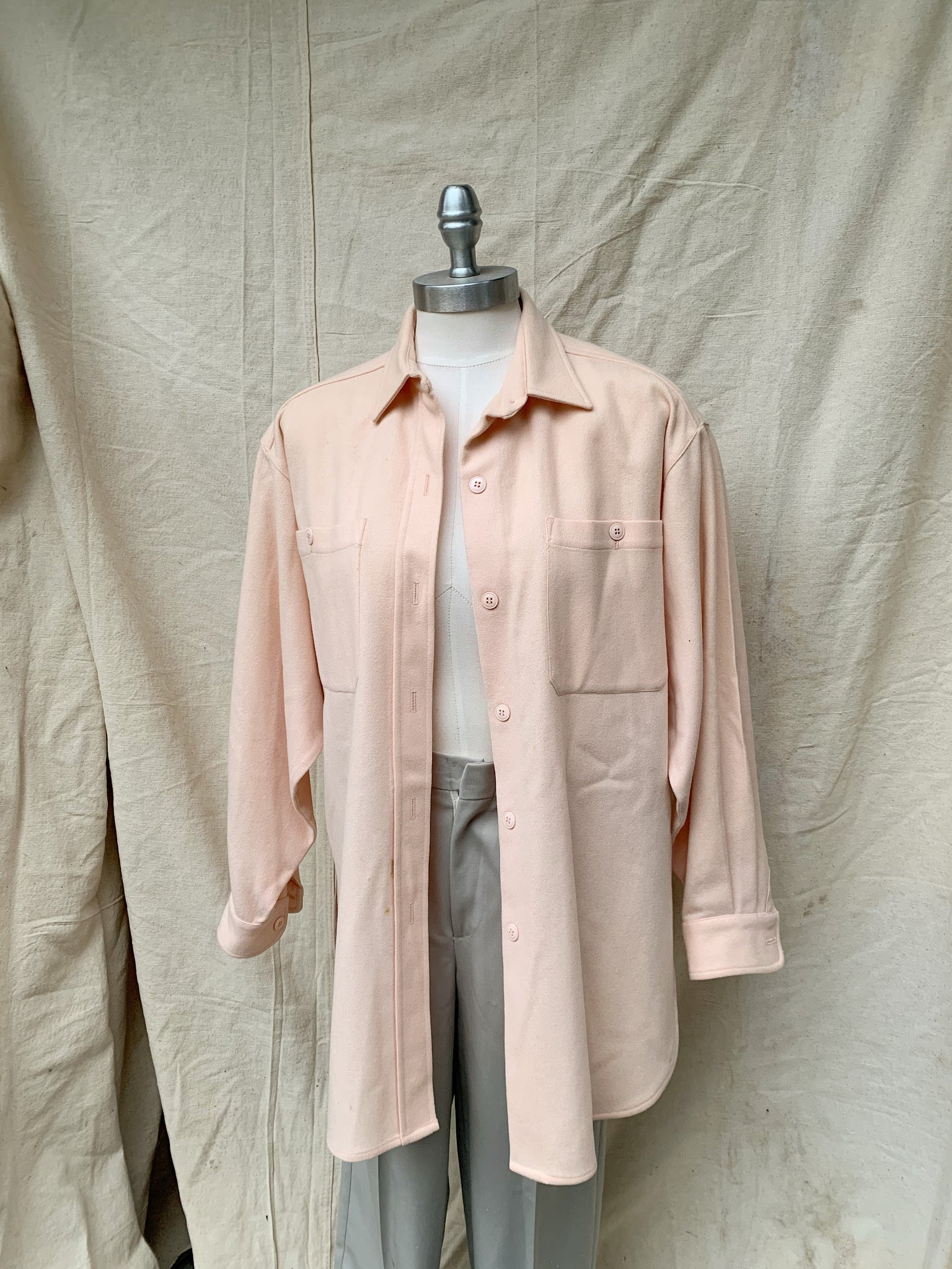 pink wool button up