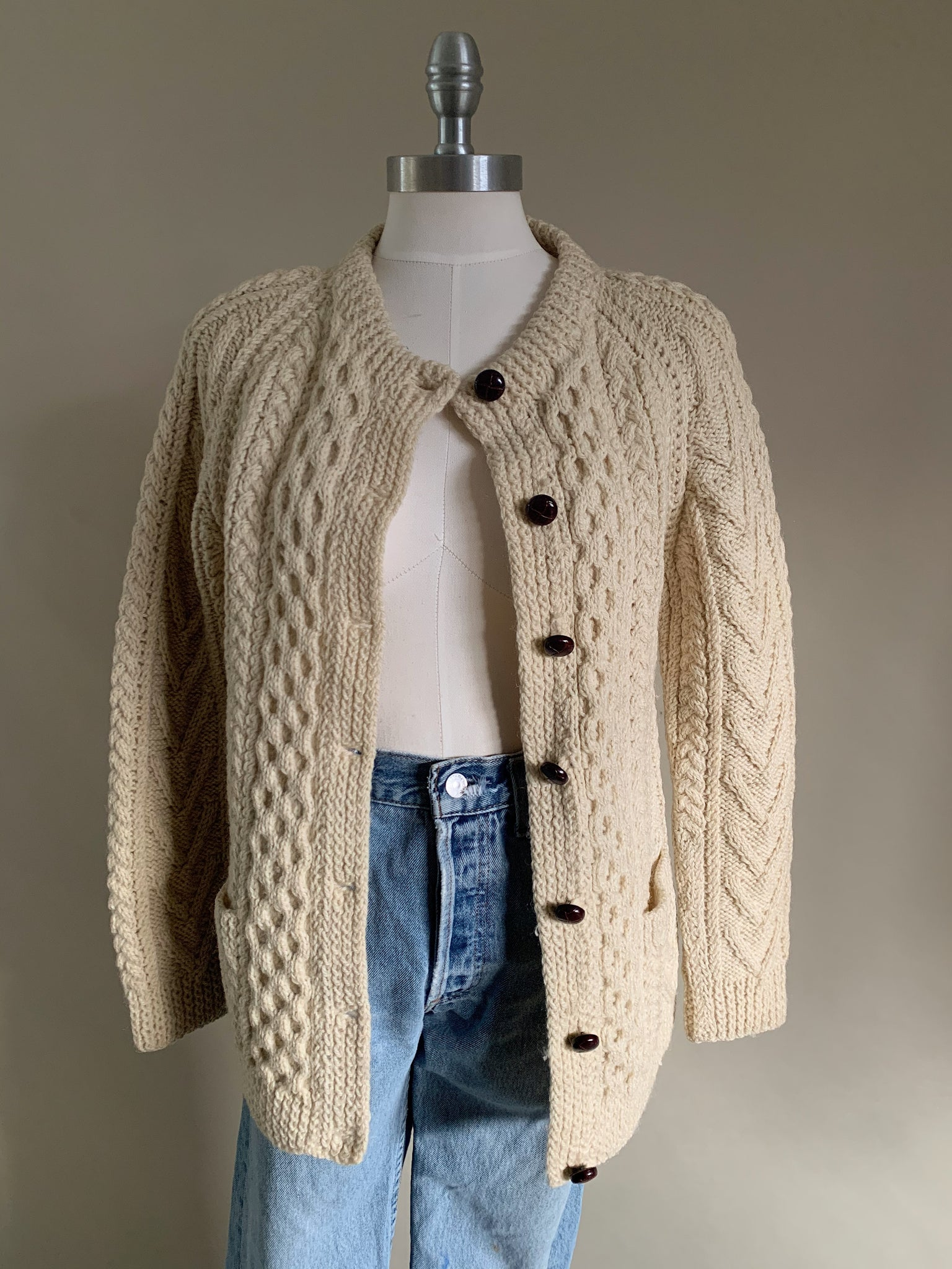 wool fisherman cardigan
