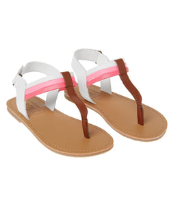 CRAZY8 STRIPE T-STRAP SANDALS- us5(20)