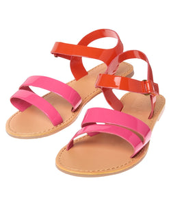 CRAZY8 FAUX PATENT COLORBLOCK SANDALS us11(28), us12(30)