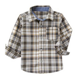 1.Crazy8 Toddler Boy Tan Plaid Shirt - (2yrs,3yrs,4yrs,5yrs)