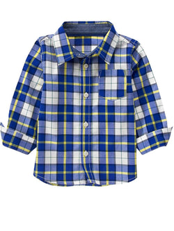 1.Toddler Boy Royal Blue Plaid Shirt by Crazy 8 (12-18mn,2yrs,3yrs)