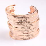 Engraved Rose Gold Cuff Bracelets