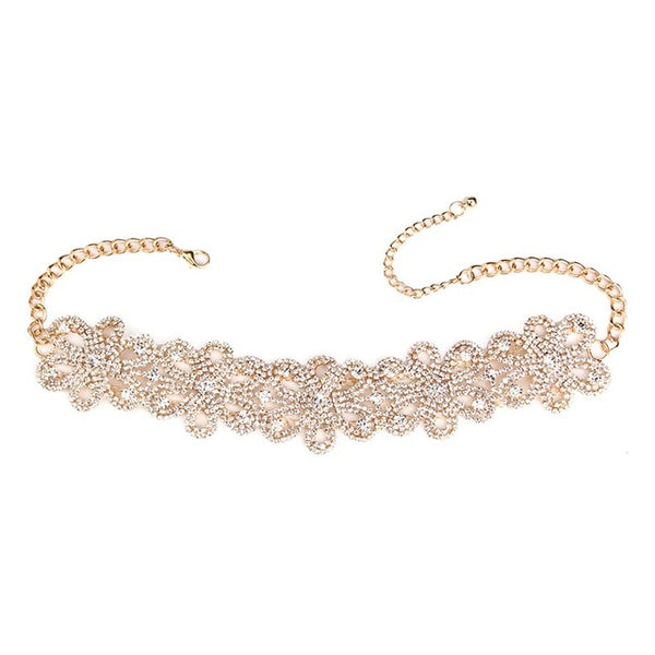 Flower-Rhinestone Choker Necklace