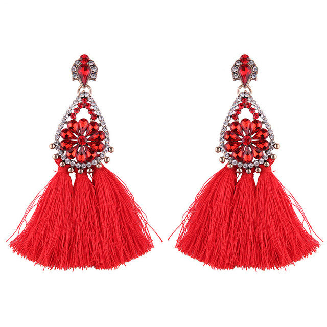 Handmade Fringed Tassel Earrings