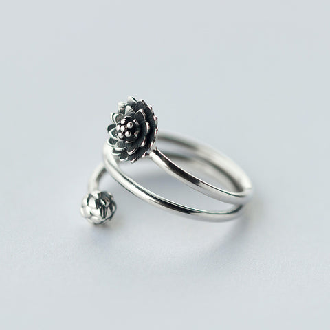 Silver Lotus Wrap Ring