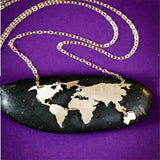Wanderlust World Map Pendant Necklace